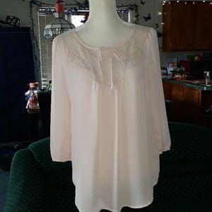 LC Lauren Conrad pink lacey blouse